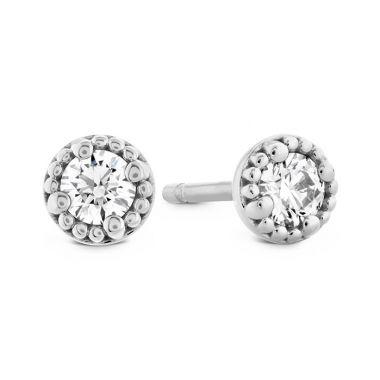 Hearts on Fire 1.05 ctw. Liliana Milgrain Single Diamond Stud Earrings in 18K White Gold