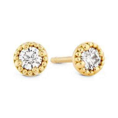 Hearts on Fire 0.25 ctw. Liliana Milgrain Single Diamond Stud Earrings in 18K Yellow Gold