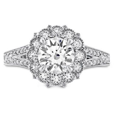 Hearts on Fire 0.5 ctw. Liliana Halo Engagement Ring - Dia Band in Platinum