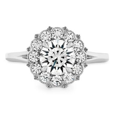 Hearts on Fire 0.46 ctw. Liliana Halo Engagement Ring in 18K White Gold