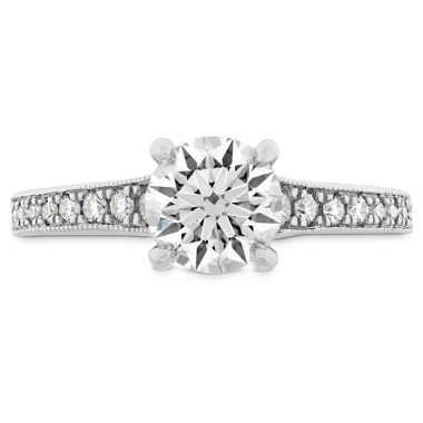 Hearts on Fire 0.15 ctw. Liliana Milgrain Engagement Ring - Dia Band in 18K White Gold