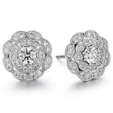 Hearts on Fire 0.7 ctw. Lorelei Double Halo Diamond Stud Earrings in 18K White Gold