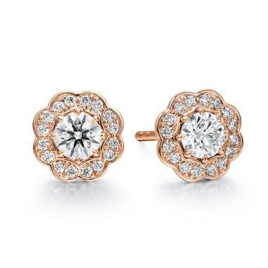 Hearts on Fire 0.5 ctw. Lorelei Diamond Halo Stud Earrings in 18K Rose Gold