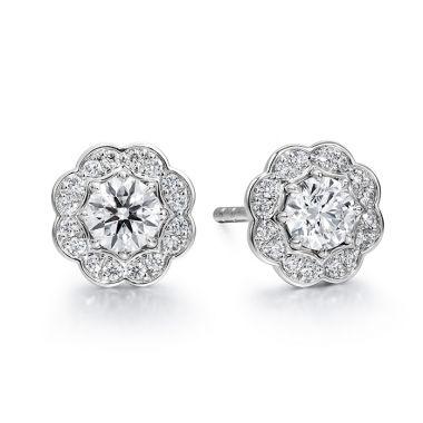 Hearts on Fire 1 ctw. Lorelei Diamond Halo Stud Earrings in 18K White Gold