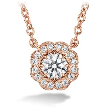 Hearts on Fire 0.5 ctw. Lorelei Diamond Halo Pendant in 18K Rose Gold