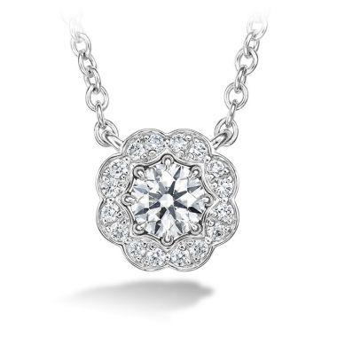 Hearts on Fire 0.25 ctw. Lorelei Diamond Halo Pendant in 18K White Gold