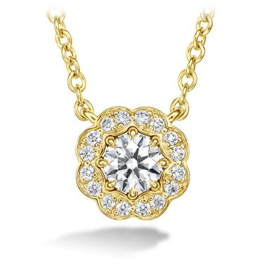 Hearts on Fire 0.25 ctw. Lorelei Diamond Halo Pendant in 18K Yellow Gold