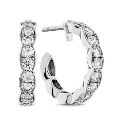 Hearts on Fire 0.8 ctw. Lorelei Floral Hoop Earrings in 18K White Gold