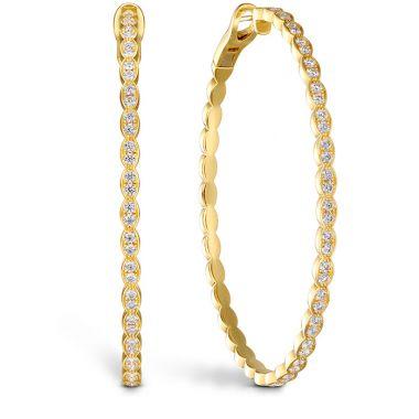 Hearts on Fire 1.95 ctw. Lorelei Floral Large Oval Hoop Earrings in 18K Yellow Gold