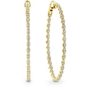 Hearts on Fire 3.27 ctw. Lorelei Floral Large Oval Inside-Out Hoop Earrings in 18K Yellow Gold