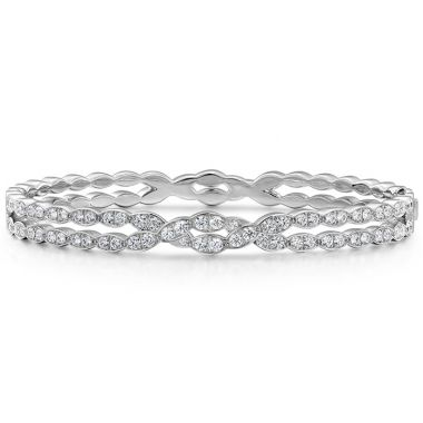 Hearts on Fire 1.5 ctw. Lorelei Floral Dia Double Twist Bangle in 18K White Gold