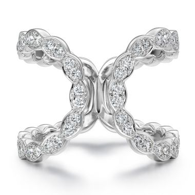 Hearts on Fire 0.55 ctw. Lorelei Floral Open Ring in 18K White Gold