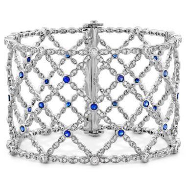 Hearts on Fire 6.65 ctw. Lorelei Lattice Dia Sapphire Bangle in 18K White Gold