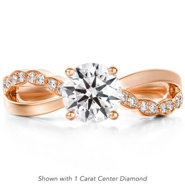 Hearts on Fire 0.1 ctw. Lorelei Diamond Twist Engagement Ring in 18K Rose Gold