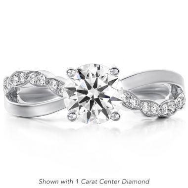 Hearts on Fire 0.1 ctw. Lorelei Diamond Twist Engagement Ring in 18K White Gold