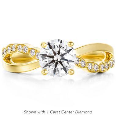 Hearts on Fire 0.1 ctw. Lorelei Diamond Twist Engagement Ring in 18K Yellow Gold