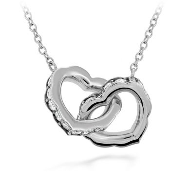 Hearts on Fire 0.25 ctw. Lorelei Interlocking Diamond Heart Necklace in 18K White Gold