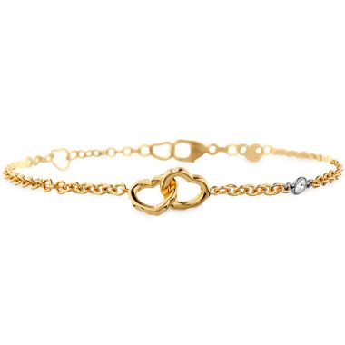 Hearts on Fire 0.05 ctw. Lorelei Interlocking Heart Bracelet in 18K Yellow Gold