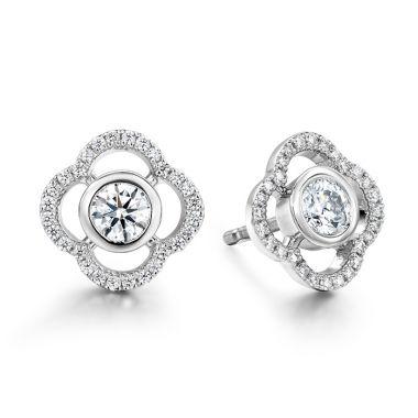 Hearts on Fire 0.56 ctw. Signature Petal Bezel Earrings in 18K Rose Gold