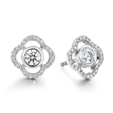 Hearts on Fire 0.56 ctw. Signature Petal Bezel Earrings in Platinum