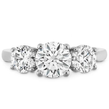 Hearts on Fire 0.5 ctw. Simply Bridal Three Stone Semi-Mount in 18K White Gold
