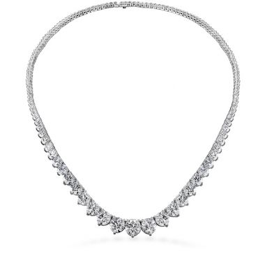 Hearts on Fire 10 ctw. Temptation Three-Prong Necklace in 18K White Gold