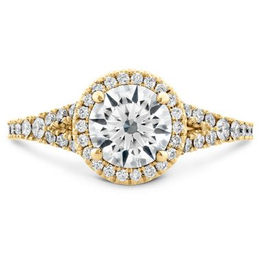 Hearts on Fire 0.35 ctw. Transcend Premier HOF Halo Split Shank Engagement Ring in 18K Yellow Gold