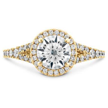 Hearts on Fire 0.35 ctw. Transcend Premier HOF Halo Split Shank Engagement Ring in 18K Yellow Gold