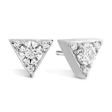 Hearts on Fire 0.5 ctw. Triplicity Triangle Stud Earrings in 18K White Gold