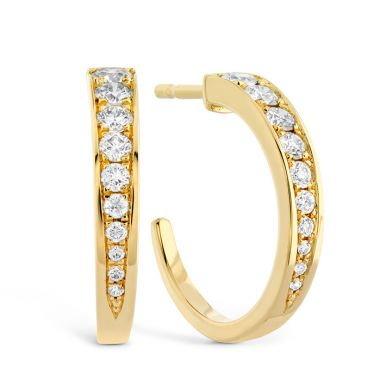 Hearts on Fire 0.4 ctw. Triplicity Small Hoop Earrings in 18K Yellow Gold
