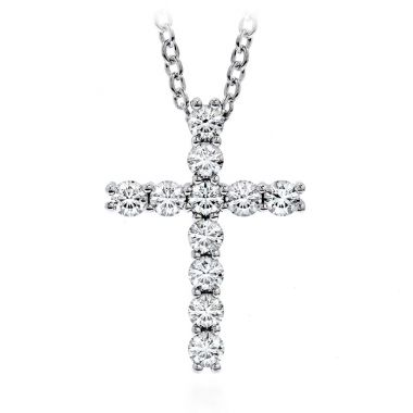 Hearts on Fire 0.15 ctw. Whimsical Cross Pendant Necklace in 18K White Gold