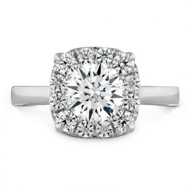 Hearts on Fire Platinum Signature Halo Engagement Ring
