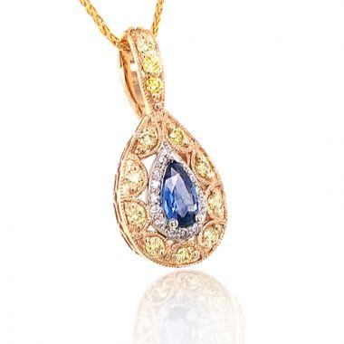 rose gold with yellow and white diamond yogo pendant