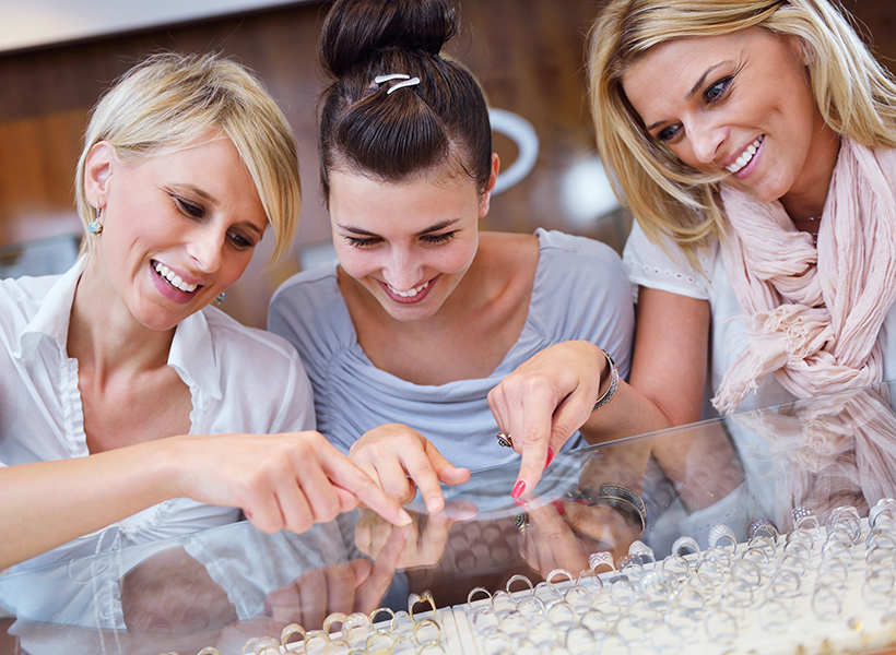 women shopping jewelry